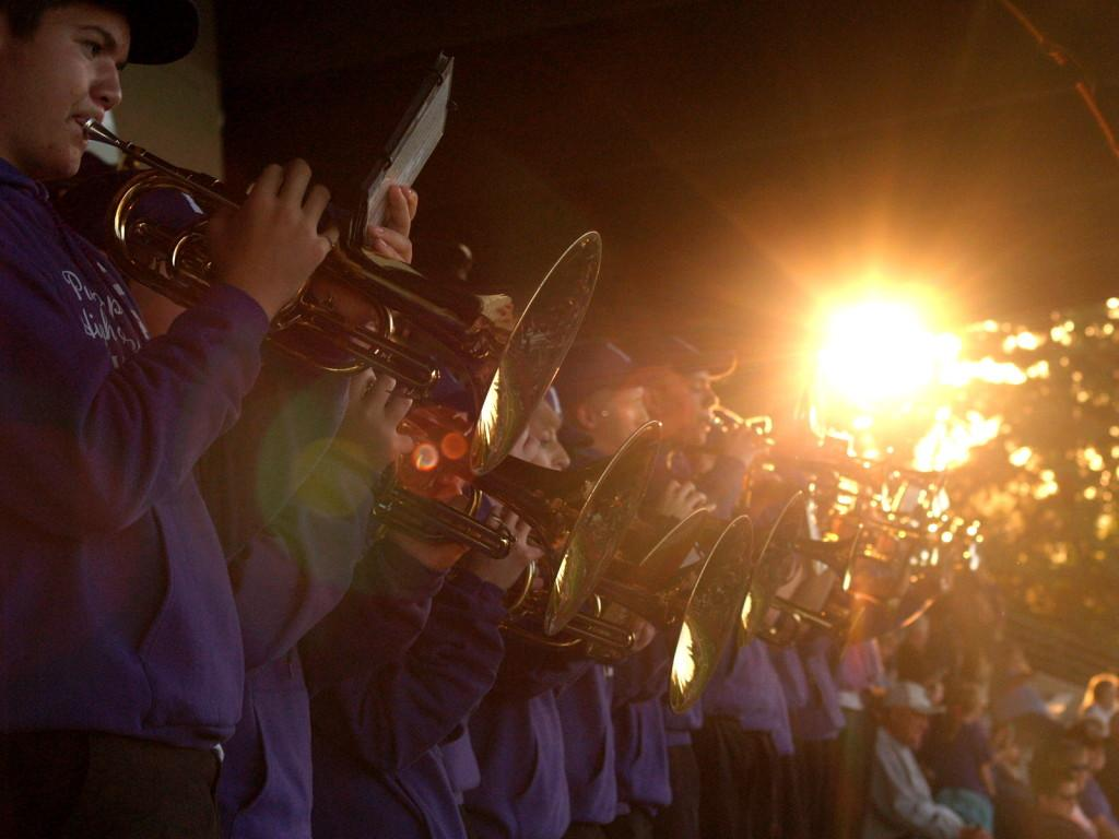 The Puyallup High School pep band performs at the football game against Kentlake High School Sept. 19 at Sparks Stadium. The pepe band is advised by band teacher Eric Ryan and led by drum majors senior Gabi Touriel and senior Jacob Watkins.