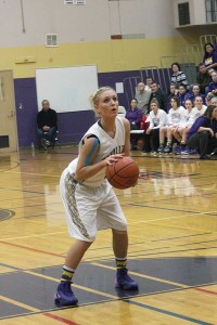 Senior Braylie Jeffers gets ready for her free throw. Jeffers put up 10 points total during the Viking's 56-39 loss to Todd Beamer Jan. 7.