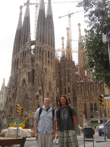 PHS Spanish teacher Nicholas O'Neill and Cascade Christian Spanish teacher Brandon Jacobsen stand in front of the renowned Sagrada Familia in Barcelona, Spain.