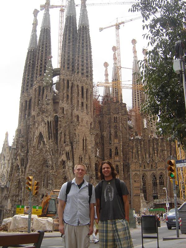 PHS+Spanish+teacher+Nicholas+O%27Neill+and+Cascade+Christian+Spanish+teacher+Brandon+Jacobsen+stand+in+front+of+the+renowned+Sagrada+Familia+in+Barcelona%2C+Spain.