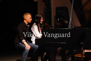 Senior Cortney Winniford performed a piano solo and alumni Logan Slack turned pages for her.