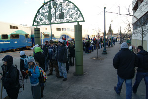 Masses of Seahawk fans gather at the Puyallup SoundTransit station Feb. 5, on the way to the Seahawk celebration parade. The Seattle Seahawk football team won Superbowl XXXXVIII, Sunday Feb. 2 against the Denver Broncos, 43-8.