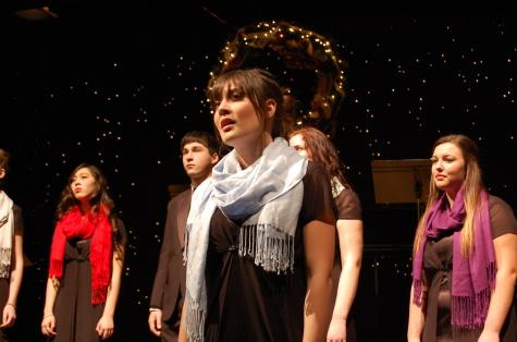 """During the song """"I Wonder as I Wander"""" senior Danielle Locken performs a solo."""