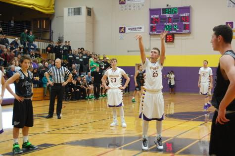 A Viking shoots a free throw in the third quarter.