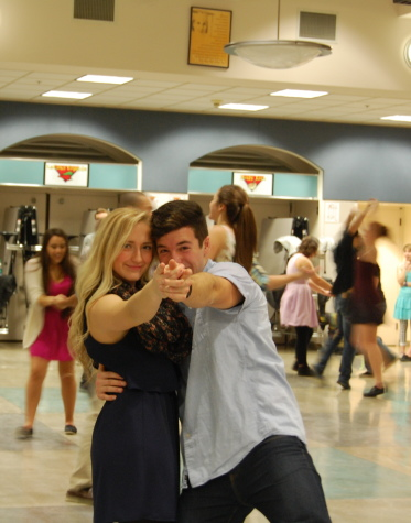 Senior Sarah Steimle and her partner try another type of dance.
