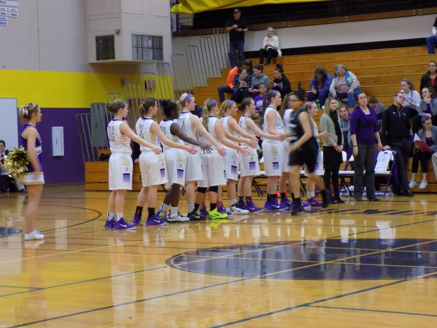 The+PHS+team+wishes+the+Spanaway+Lake+players+a+good+game.+Puyallup+High+School+girls+varsity+basketball+defeated+Spanaway+Lake+High+School+Jan.+13.+The+final+score+was+57-41.