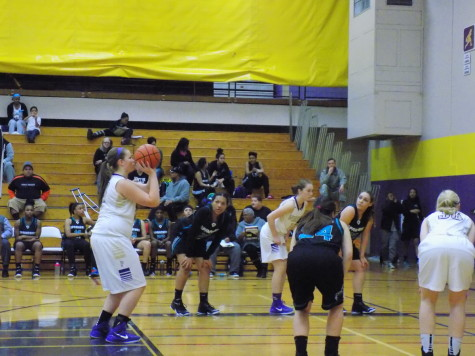 Sophomore Rachael Allen shoots a free throw. Puyallup High School girls varsity basketball defeated Spanaway Lake High School Jan. 13. The final score was 57-41.
