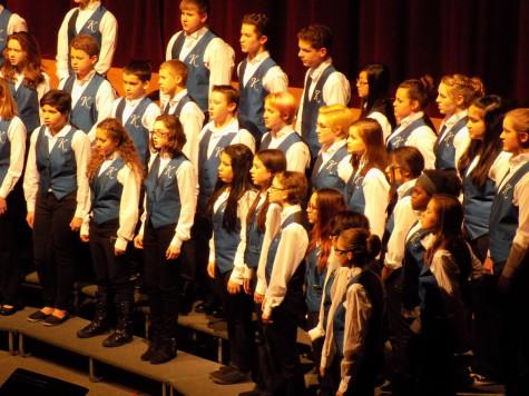 "The Kalles choir sings a song named ""Far Awa'.""  Junior High Schools join Puyallup for a choir concert Jan. 21. Aylen, Edgemont and Kalles junior high schools were all present."