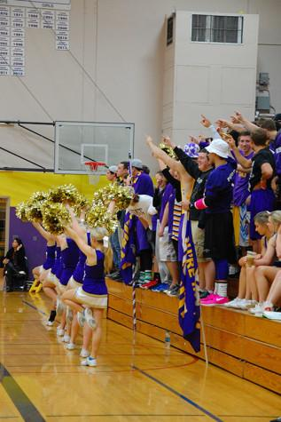 The student section along with the cheerleaders cheer on the Puyallup Viks. The boys basketball team lost to Curtis High School Jan. 20 with a score of 68-75 after going into overtime.