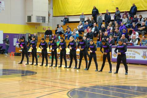 The Dance Team gets ready to perform their routine. The boys basketball team lost to Curtis High School Jan. 20 with a score of 68-75 after going into overtime.