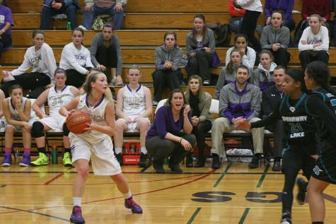 Senior Sarah Steimle looks for a teammate to pass the ball to.