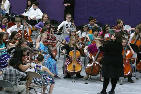 """Twinkle, Twinkle Little Star"" is performed by the first year orchestra. The Region Three Orchestra Festival was held Feb. 25 in the PHS gym. First and second year orchestra students along with the combined orchestra of Edgemont, Aylen and Kalles performed with the Puyallup High School orchestra."
