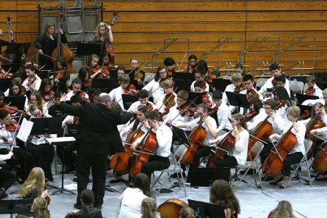 The orchestra is directed by Giltner. The Region Three Orchestra Festival was held Feb. 25 in the PHS gym. First and second year orchestra students along with the combined orchestra of Edgemont, Aylen and Kalles performed with the Puyallup High School orchestra.