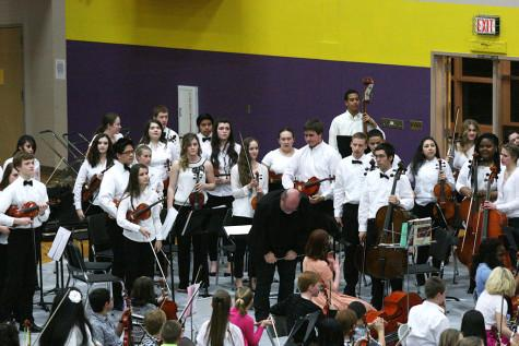 The Puyallup High School Orchestra stand up to be recognized. The Region Three Orchestra Festival was held Feb. 25 in the PHS gym. First and second year orchestra students along with the combined orchestra of Edgemont, Aylen and Kalles performed with the Puyallup High School orchestra.