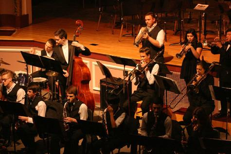 """The Jazz Band performs the song """"Tad Boppin'"""". The Percussion and Wind Ensemble along with the Jazz, Concert and Symphonic Bands performed March 23 at the band concert held in the auditorium."""
