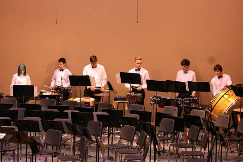"The Percussion Ensemble plays the song ""Technology"" that feature a variety of percussion instruments. The Percussion and Wind Ensemble along with the Jazz, Concert and Symphonic Bands performed March 23 at the band concert held in the auditorium."
