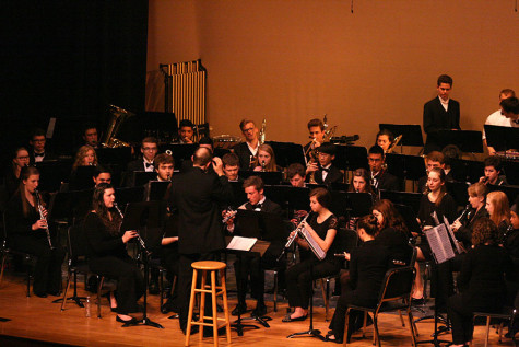 "The Wind Ensemble performs ""Second Suite in F"". The Percussion and Wind Ensemble along with the Jazz, Concert and Symphonic Bands performed March 23 at the band concert held in the auditorium."