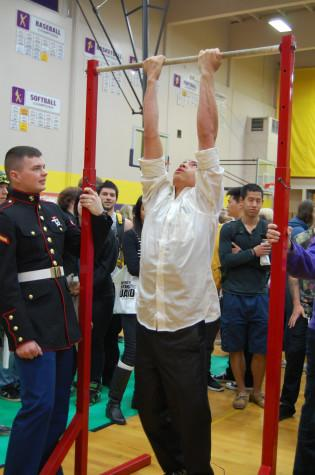 Students attempt to complete pull-ups at the marines booth. PHS held its annual Future Fair April 9 during third period. The fair presented students with a variety of colleges, universities, military representatives, employment opportunities and service organizations.