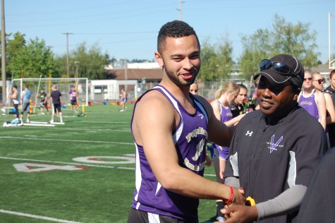 "As the regular season comes to an end, the Vikings cap of the season in style with senior night. Senior Nate Conway shakes Coach Fuller's hand. ""I loved all the appreciation and positive vibes that were coming my way,"" Conway said. PHS Track and Field took first against Emerald Ridge and Rogers May 7."