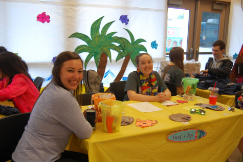 Senior Jessica Hailey and sophomore Mackenzie Kinsella run the information booth. HOSA held their last blood drive of the 2015 school year on June 1.