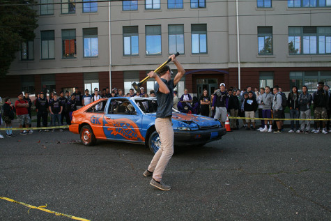 Student bashes car during second lunch in part of the homecoming week festivities.