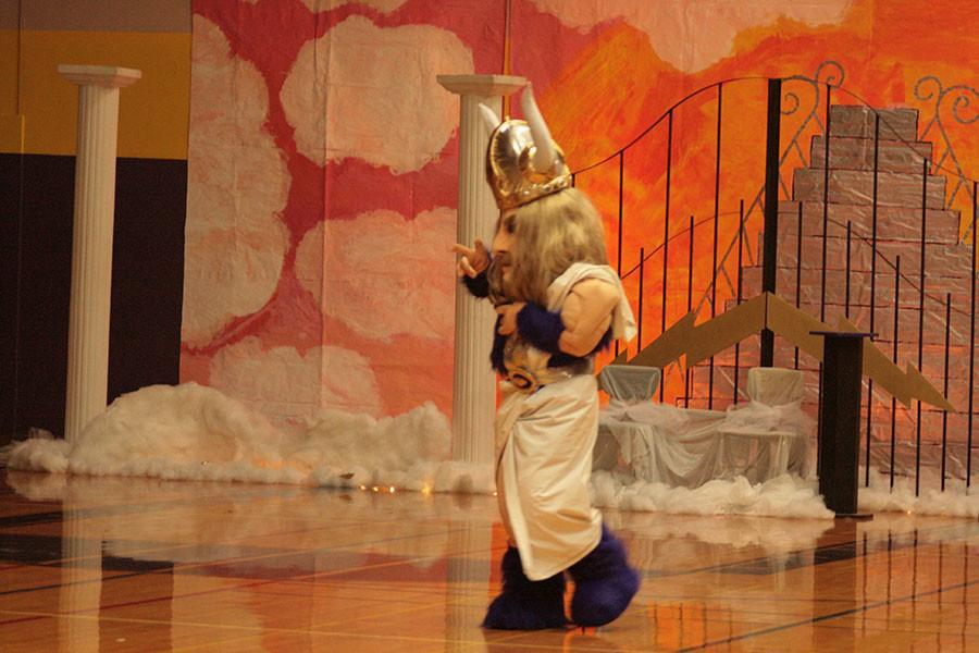 Victor Viking gets ready for the homecoming assembly on 10/16/15.