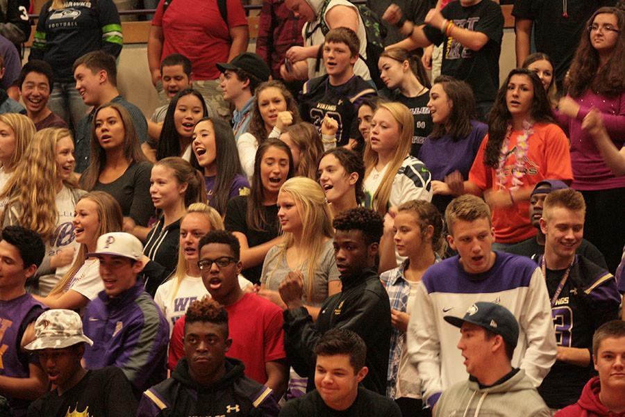 Junior Class tries to yell the loudest at the homecoming assembly on 10/16/15. The Junior class is trying to win the yell contest, however they fell short and the seniors won.