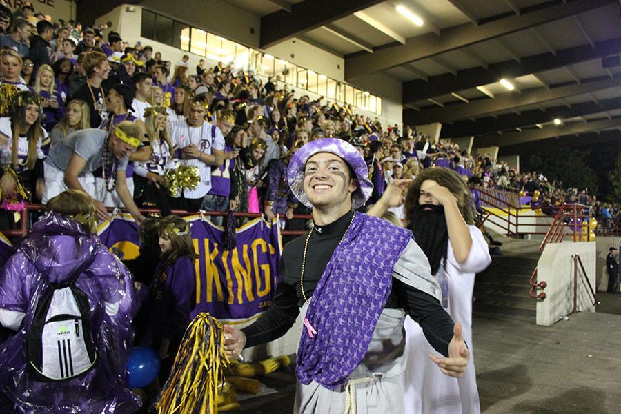 Senior Kenton Robillard poses for the camera at the homecoming game on 10/16/15.