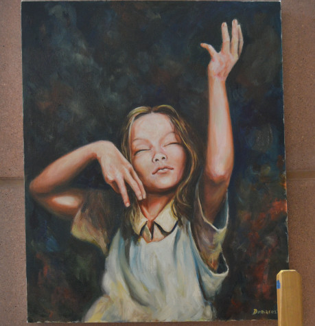 This painting by Demarest was based upon a blind French girl in the World War II themed book, All The Light We Cannot See by Anthony Doerr.