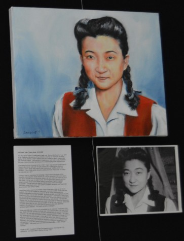 "A portrait by Demarest of Iva Toguri, colloquially known as Tokyo Rose. Toguri was falsely accused of treason in the U.S. and was then sent to federal prison for six years. ""The irony of it all is that she was born on July 4. That is why I painted her in red, white and blue. That is my tribute,"" said Demarest."