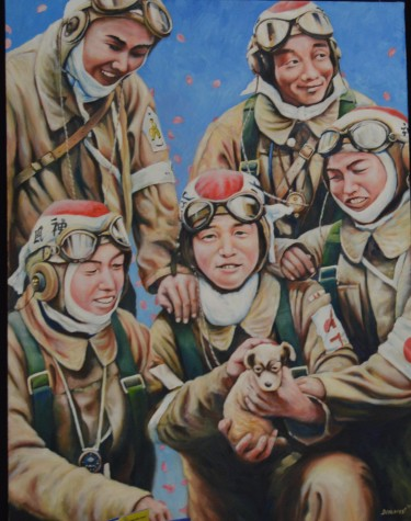"This is a painting done by Demarest of Japanese ""boy pilots"" or, Kamikaze pilots which originated from an actual photo of the same Kamikaze pilots."