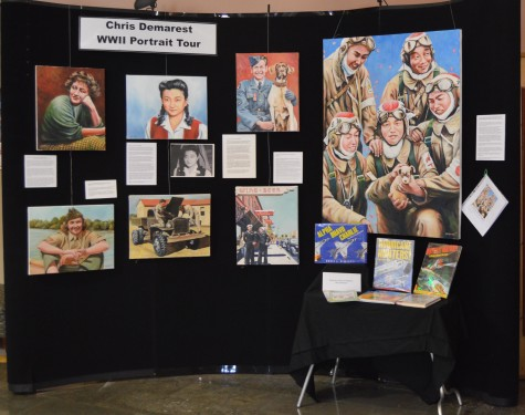 Chris Demarest is the artist in residence from Sept. 1- Nov. 30 at the Puyallup Public Library as a part of his World War II Portrait Journey. In the main lobby of the library, the large display of Demarest's artwork is one of the very first things that captures the observer's eye.