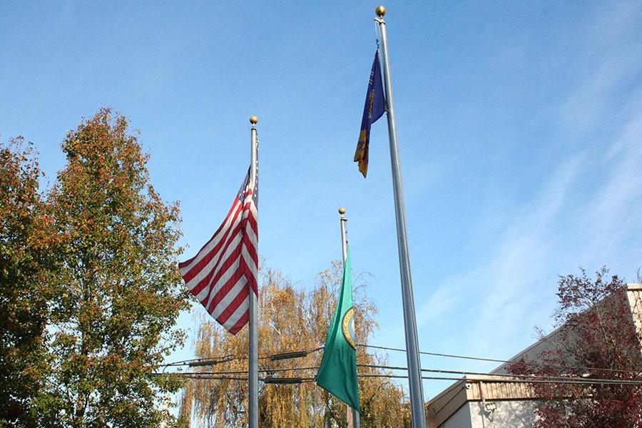 Flags flying the day of the Veterans day assembly. At the PHS court yard.