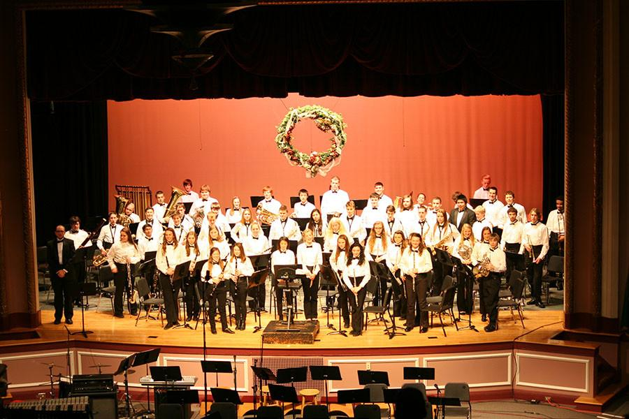 Mr. Ryans band standing after their performance. At the December band Concert.