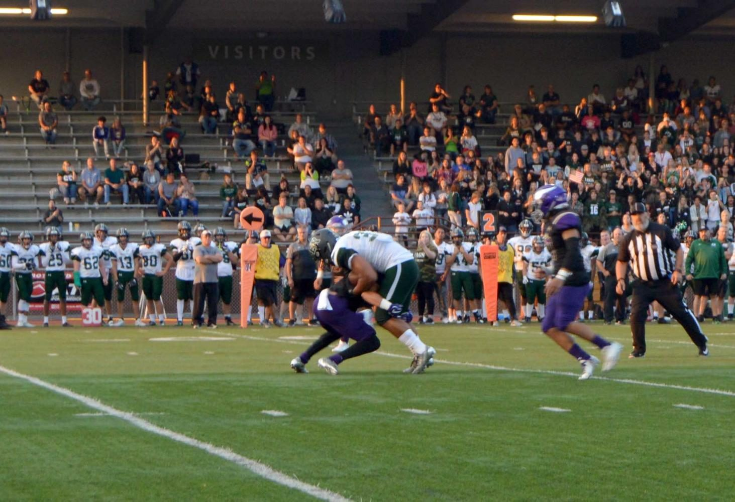 One of the Vikings linebackers make a hard it on an ER wide receiver. The Vikings went on to win the game 41-13