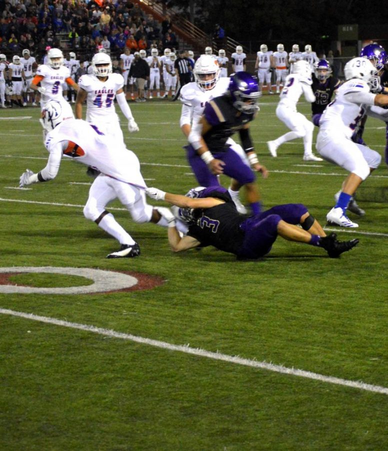 Andrey Karplyuk makes a tackle on the receiver. The Vikings would go on to beat Graham 34-27.