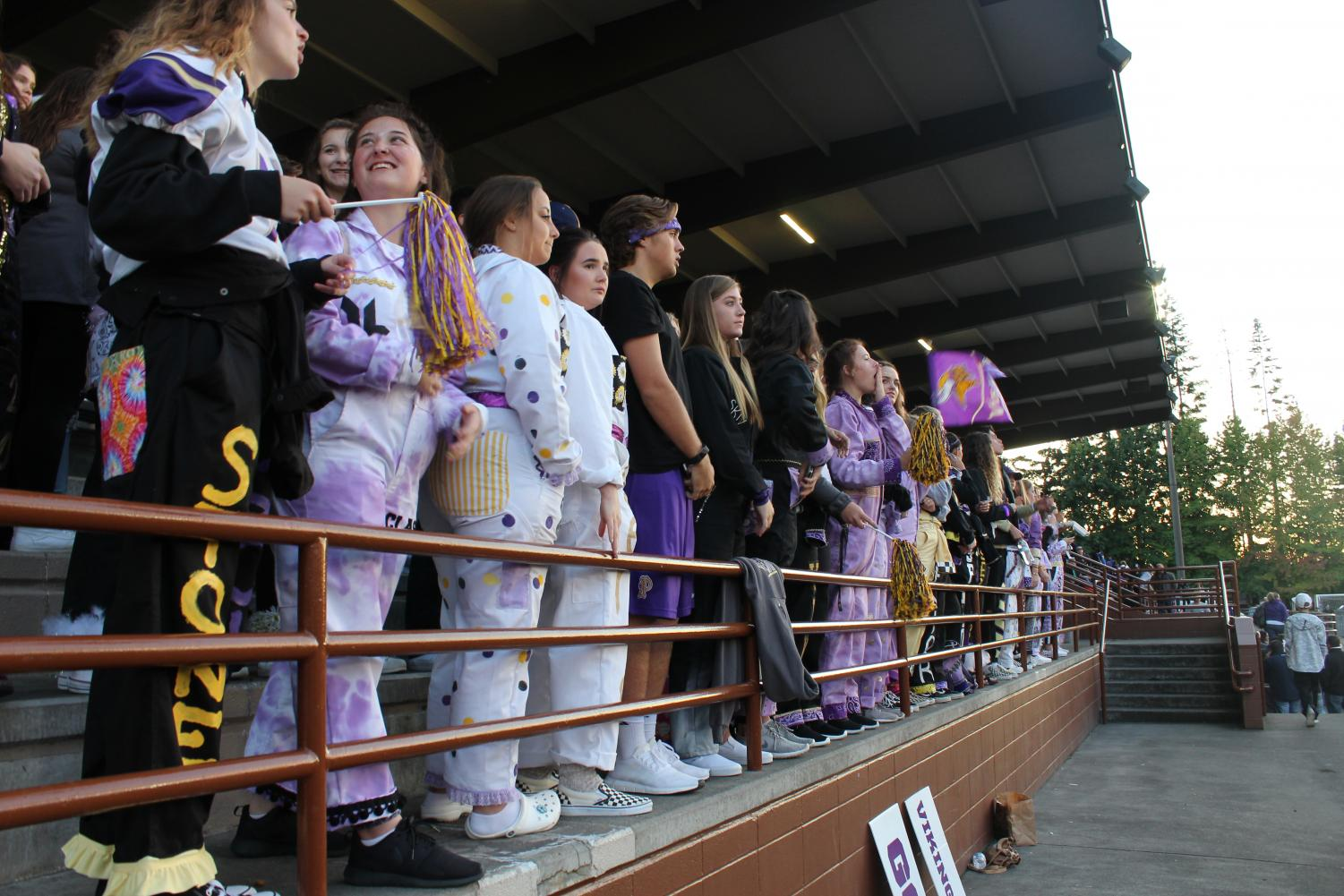 Students dominating their section with an abundance of people. South Kitsap only had a few fans in the stands, while Puyallup had hundreds.
