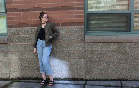 Senior, Jory Duvall, shows off her sense of style through distressed denim.