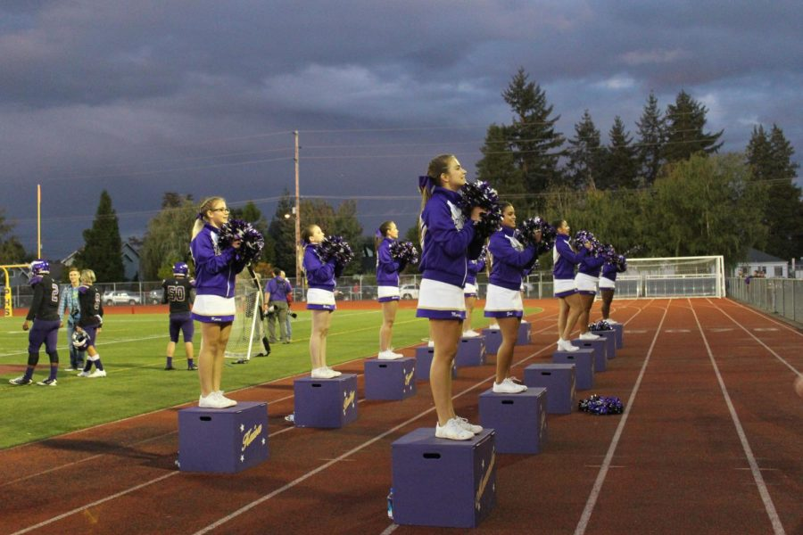 Puyallup cheerleaders pump up the crowd and lead the players to another victory. Students participated in crowd activities and pushed them to cheer on their team at Sparks.