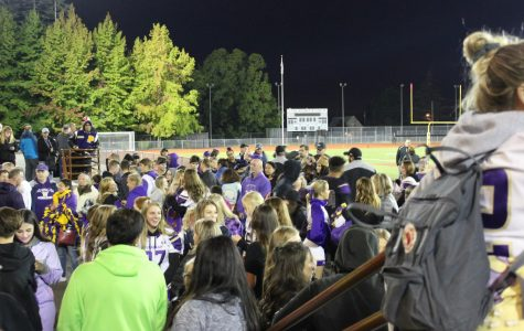 Viking students and teachers celebrate after a football game against South Kitsap in late September. The crowd and cheerleaders pushed their team to a win.