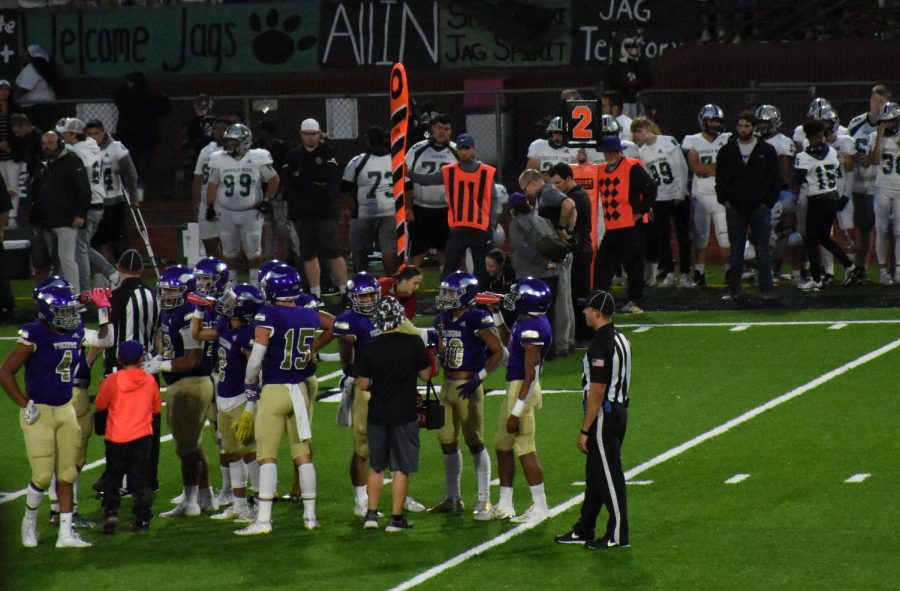 The Vikings had a timeout during the first half of the game. They had gone on timeout to go over play calls.