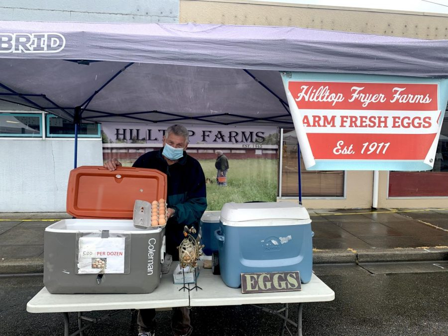 Owner of Hilltop farms with their very popular farm fresh eggs on April 24th. The Market moved back to Pioneer Park Pavilion around Mother's Day. It runs every Saturday from 9 a.m. to 2 p.m.