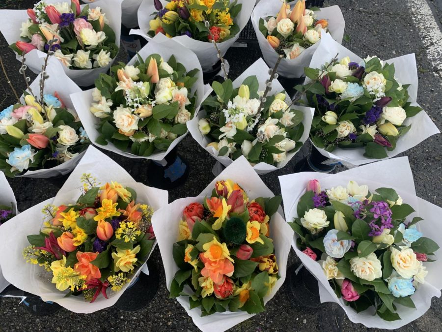 Beautiful bouquets from one of the flower booths on April 24th. The Market moved back to Pioneer Park Pavilion around Mother's Day. It runs every Saturday from 9 a.m. to 2 p.m.